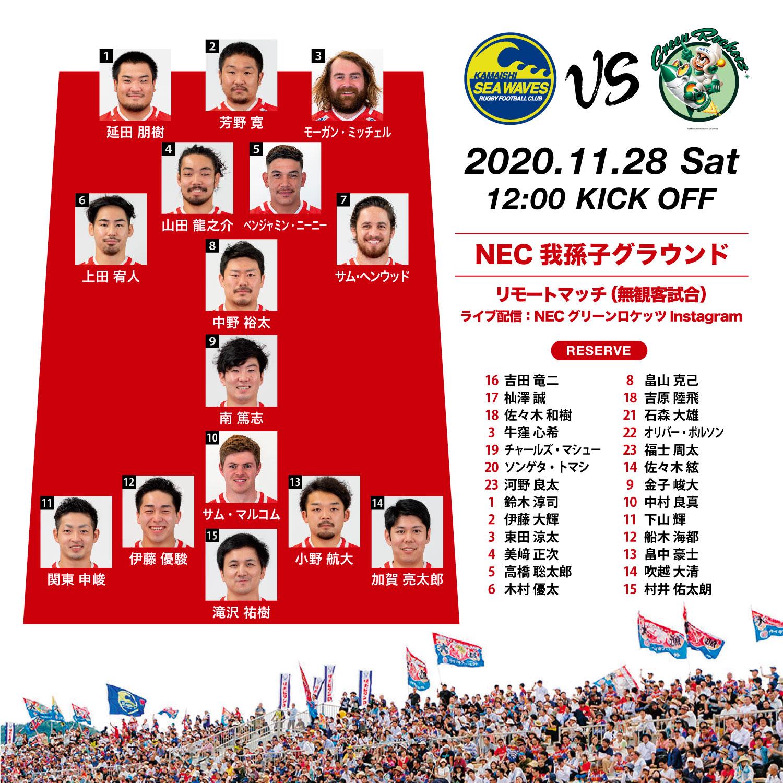 プレシーズンマッチ(無観客試合)/NECグリーンロケッツ戦